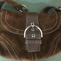 Authentic Coach Brown Suede and Leather Purse Very Cute Photo
