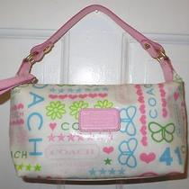 Authentic Coach Butterfly Hearts & Stars Coated Canvas Pink Strap Purse Handbag Photo