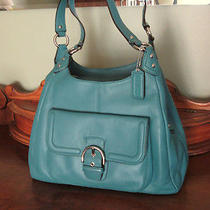 Authentic  Coach  Campbell Hobo Satchel  in Mineral Blue Leather  Lg Purse Euc Photo