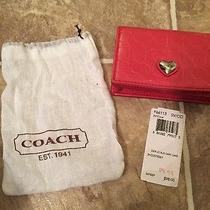 Authentic Coach Card Case Pink With Heart Photo