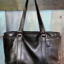 Authentic Coach Charlie Carry All Tote Purse Handbag Shoulder Black Leather Larg Photo