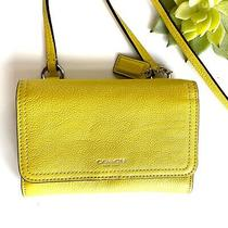 Authentic Coach Crossbody Leather Small Bag Purse Citron Yellow  Photo