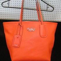 Authentic Coach Crossgrain Taxi Zip Top Tote Coral  33915 Purse Shoulder Bag  Photo