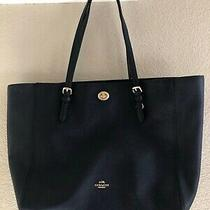 Authentic Coach Dark Navy(almost Black) Crossgrain Leather Large Tote Bag 37142  Photo