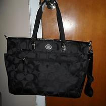 Authentic Coach Diaper Baby Bag 77577 Black Nylon Photo