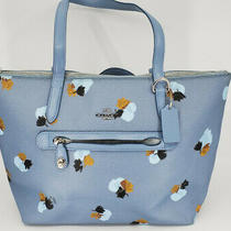 Authentic Coach F37226 Taylor Tote in Floral Print Coated Canvas Light Blue Photo