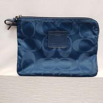 Authentic Coach F77321 Getaway Nylon Zipper Clutch Blue Photo