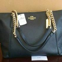 Authentic Coach F87775 Leather Ava Chain Tote Handbag Black Photo