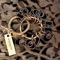 Authentic Coach Gold/black Letter Dangle Brass Key Chain/purse Fob Charm Nwt Photo
