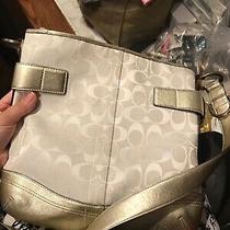 Authentic Coach Gold Leather Canvas Shoulder Bag Messenger Bag Beautiful Photo
