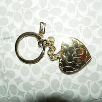 Authentic Coach Gold Photo Heart Locket Key Ring-Pre-Owned Photo