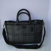 Authentic Coach Gray and Black Tattersall Metropolitan Briefcase 71072 Euc/ln Photo