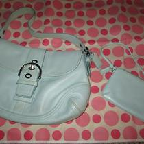Authentic Coach Handbag - Light Powder Blue - Hobo Style With Matching Wristlet Photo