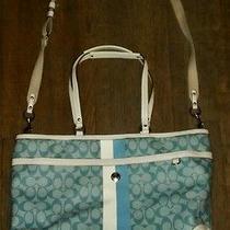 Authentic Coach Heritage Stripe Multi-Purpose Tote Diaper Bag Turquoise/ F14475 Photo