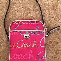 Authentic Coach Hot Pink Colorful Wristlet Coin Purse Camera Case Adorable Photo
