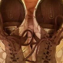 Authentic Coach Katelyn Women Sneakers Tennis Shoes Brown/gold Accents Size 7 Photo