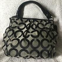 Authentic Coach Large Purse Handbag Tote Gray Black Leather Strap L0882-13427 Photo