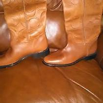 Authentic Coach Leather Embossed Boots 7.5 Photo