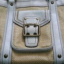 Authentic Coach Leather Straw White Tan Handbag Purse Sholder Bag Designer Photo