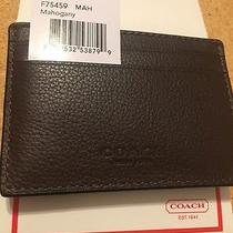 Authentic Coach Leather Wallet Slim - Card Holder Money Clip F75459 Mahogany Nwt Photo