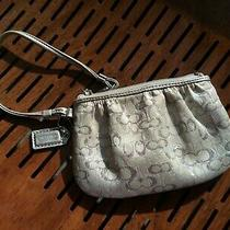 Authentic Coach Light Gray & Silver Wristlet Photo
