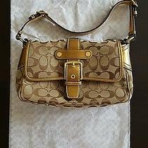 Authentic Coach Logo Baguette Handbag Gold Photo