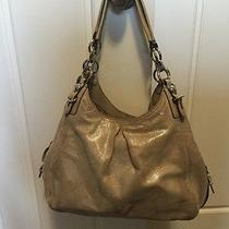 Authentic Coach Madison Ivory Embossed Metallic Leather Maggie Shoulder Bag15727 Photo