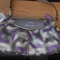 Authentic Coach Madison Op Art Violet Multi Handbag Purse New Photo