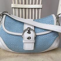 Authentic Coach Medium Soho Light Blue Signature White Leather Trim 10926 Lovely Photo