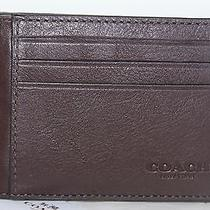 Authentic Coach Men Leather Id Card Case F75022 Nwt Mahogany Free Ship Photo