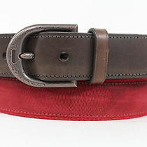 Authentic Coach Men Red Fabric Fashionable Brown Leather Classic Belt Buckle Photo