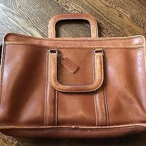 Authentic Coach Mens Leather Briefcase Laptop Work Bag Cognac Brown -Gently Used Photo