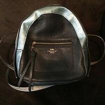 Authentic Coach Mini  Backpack Bag Leather Silver Light Blue Zipper Photo