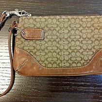 Authentic Coach Mini Signature Skinny Brown Leather Canvas Wristlet Photo