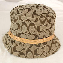 Authentic Coach Monogram Canvas Leather Signature Classic Bucket Hat Size P/s Photo