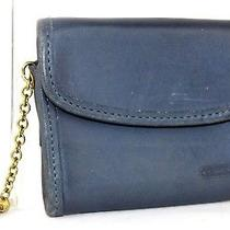 Authentic Coach Navy Leather Coin Case Coin / Key Folder Flap Button Closure Photo