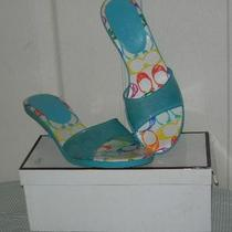 Authentic Coach Nichelle Scribble Turquoise Kitten Heel Sandal 9.5 M Ex Cond Photo