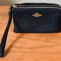 Authentic Coach Ny Black Pebbled Leather Double Zippered Pocket Wallet Wristlet Photo