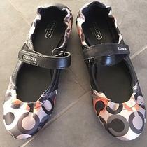 Authentic Coach Op Art Black Grey Orange Logo Signature Loafers Shoes 7.5 Flats Photo