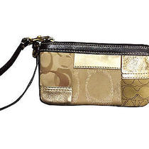 Authentic Coach Patchwork Wristlet - Dark Brown With Gold Photo