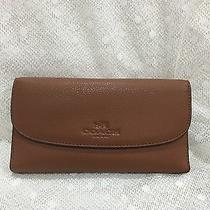 Authentic Coach Pebbled Leather Saddle Check Book Wallet Nwt Photo
