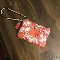 Authentic Coach Peyton Wristlet Wallet Floral Flowers Roses Crossgrain Pink Red Photo