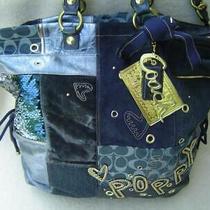 Authentic Coach Poppy Denim Blue Patchwork Xl Spotlight Tote Bag 15334 Euc Photo