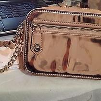 Authentic Coach Poppy Flight Wristlet in Pink Mirror Metallic Leather Photo