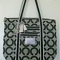 Authentic Coach Poppy Glam Pop Blk/grey Print Large Tote Bag Purse H0969-13826  Photo
