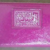Authentic Coach Poppy Large Patent Leather Purple Zip Around Wallet Photo