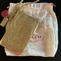 Authentic Coach Poppy Leather Uni Case (Gold)  Wristlet Nwt 60691 Photo