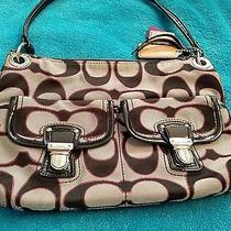 Authentic Coach Poppy Moonlight/pink Scarlet Metallic Signature Glam Handbag Photo