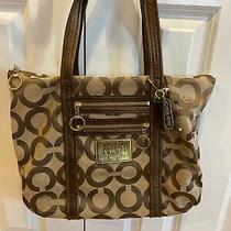 Authentic Coach Poppy Op Art Glam Gold and Khaki Tote Bag 13826 Photo