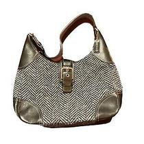 Authentic Coach Purse. Blue Tweed and Black Leather. Great Condition Pre Owned Photo